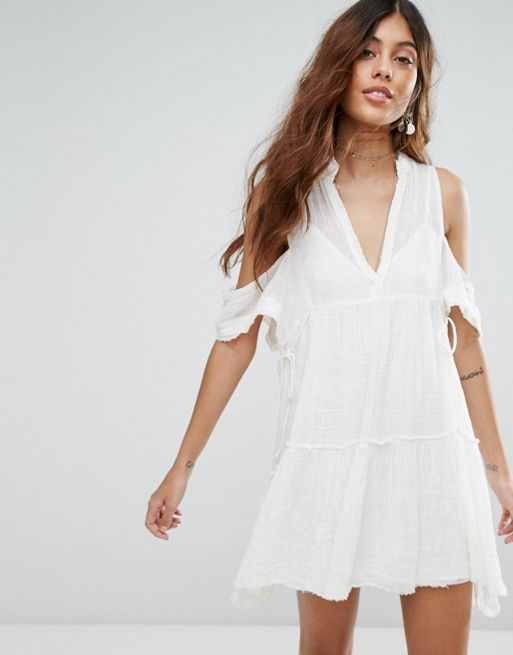 送料関税込 Free People Gauze Indus Cold Shoulder Dres ワンピ