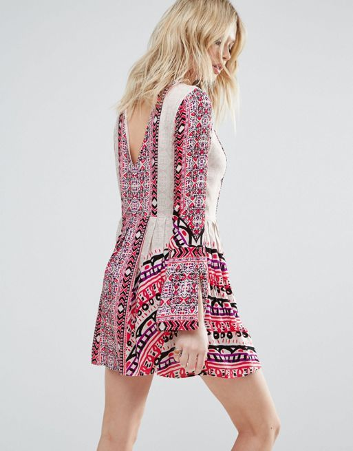 送料関税込 Free People Tegan Border Print Mini Dress ワンピ