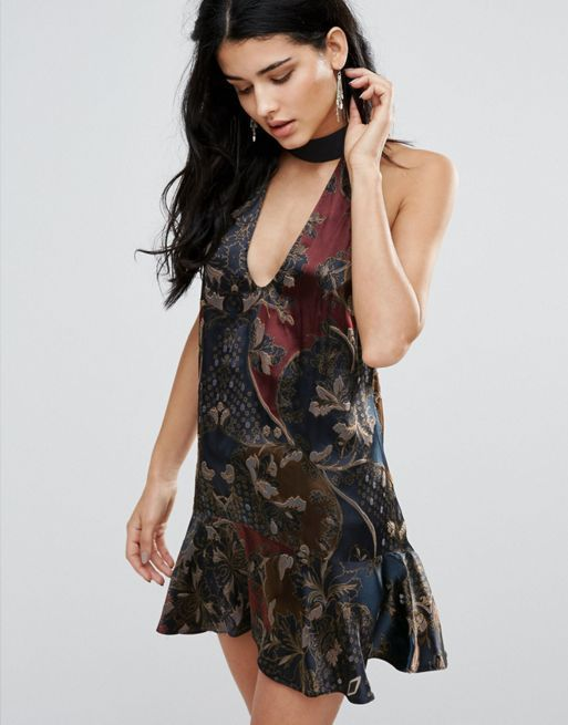 送料関税込 Free People Lady Luck Printed Silk Mix Dre ワンピ