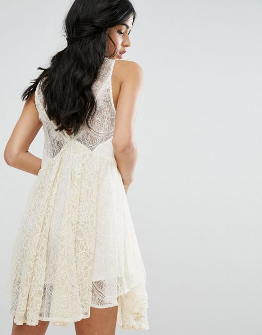 送料関税込 Free People Don't You Dare Lace Mini Dress ワンピ