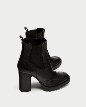 ★ZARA★ザラ LEATHER HIGH HEEL ANKLE BOOTS