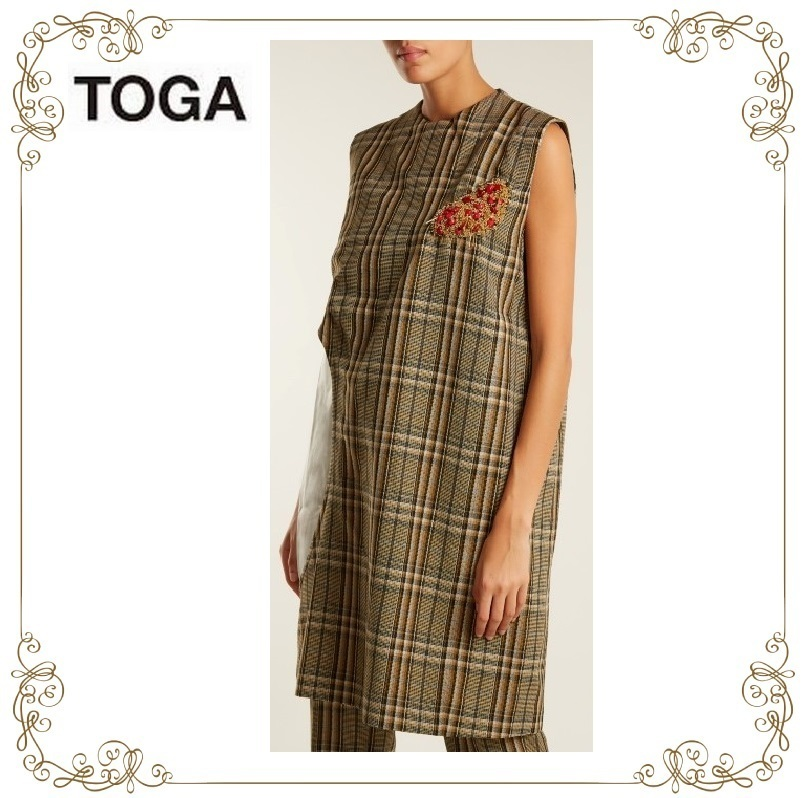 【17AW★RUNWAY】★TOGA★cut-out sleeveless checked dress