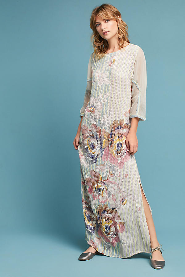18AW☆最安値保証*関送込【Anthro】Sequined Floral Column Dres