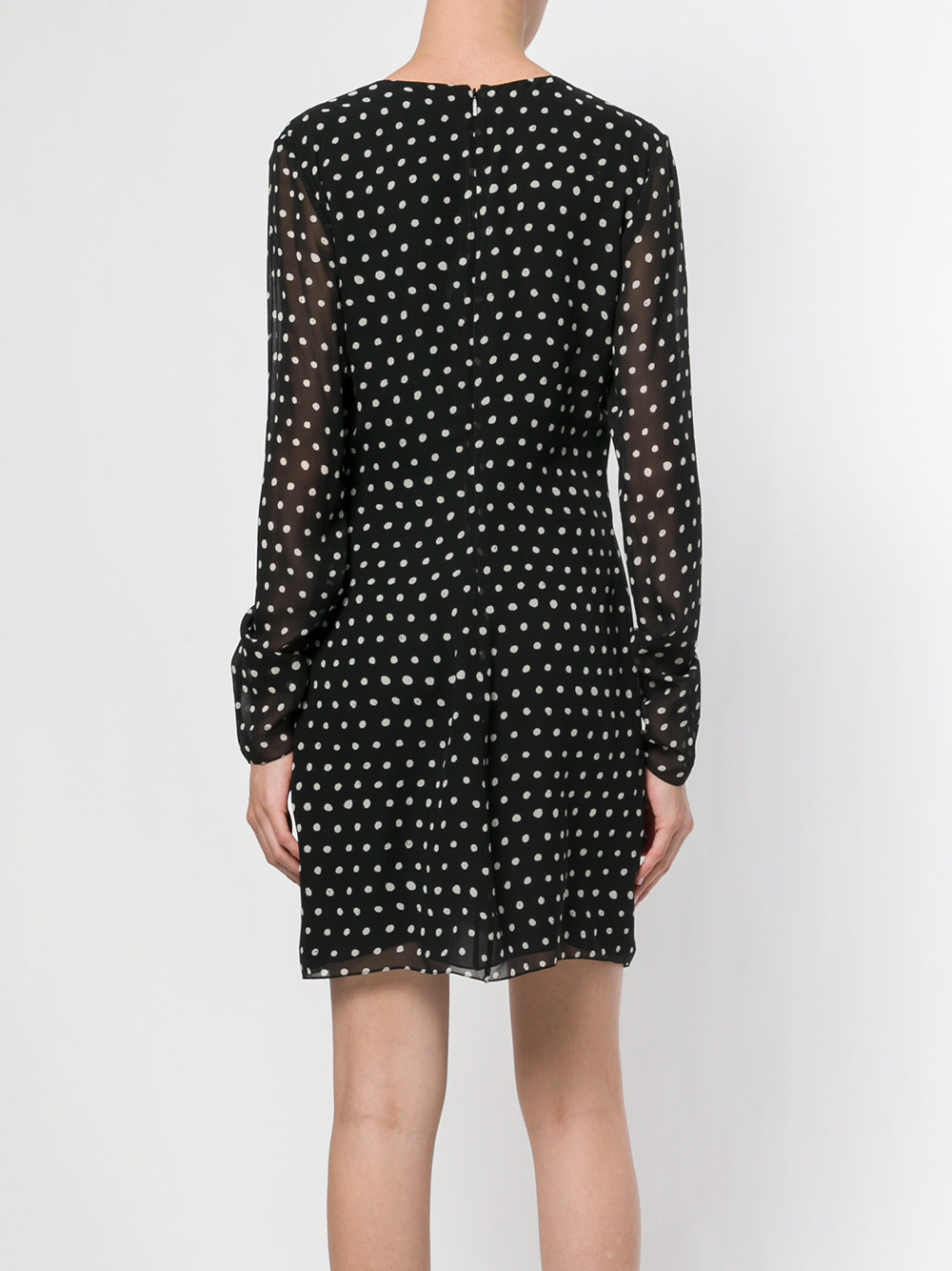 17-18AW WSL1095 POLKA DOT SILK DRESS WITH PLUNGING NECK