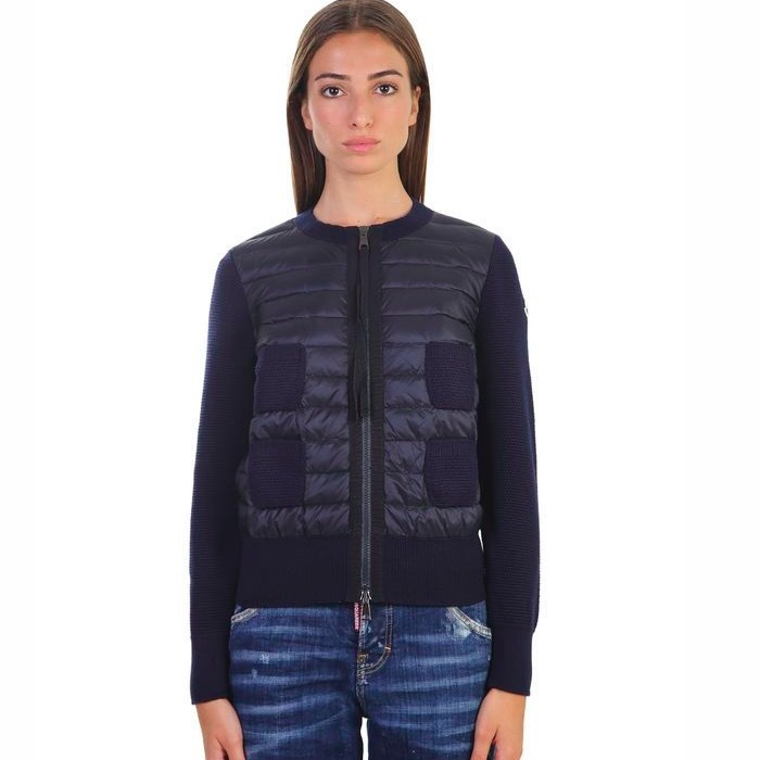 MONCLER Wool and padded nylon cardigan