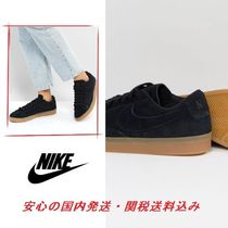 Nike Blazer Low Trainers In Black Suede With Gum Sole♪