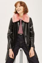 《ファー襟がキュート♪》☆TOPSHOP☆Vinyl Fur Collar Coat