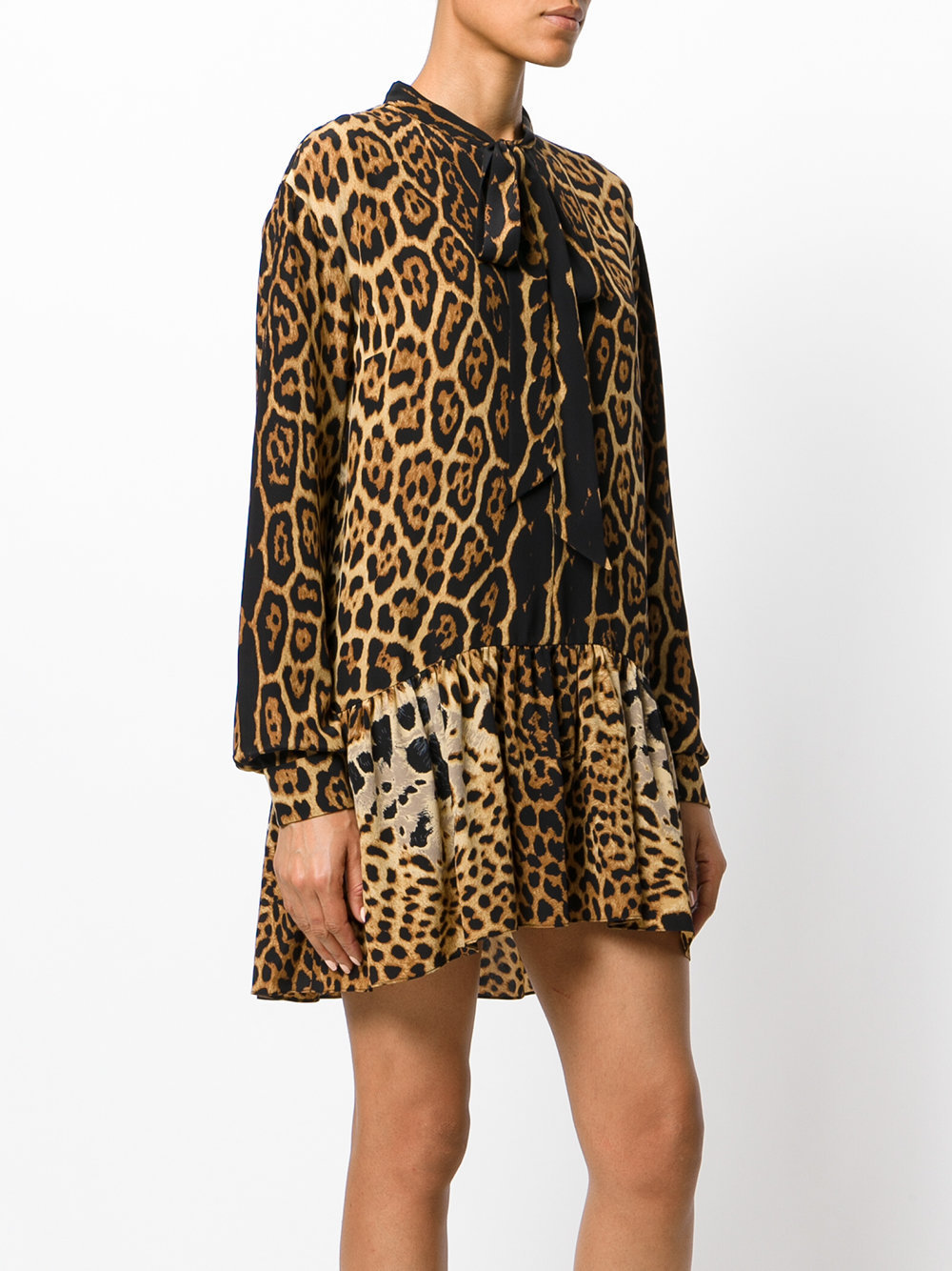 17-18AW WSL1101 WILD CAT PRINT LAVALIERE MINI DRESS