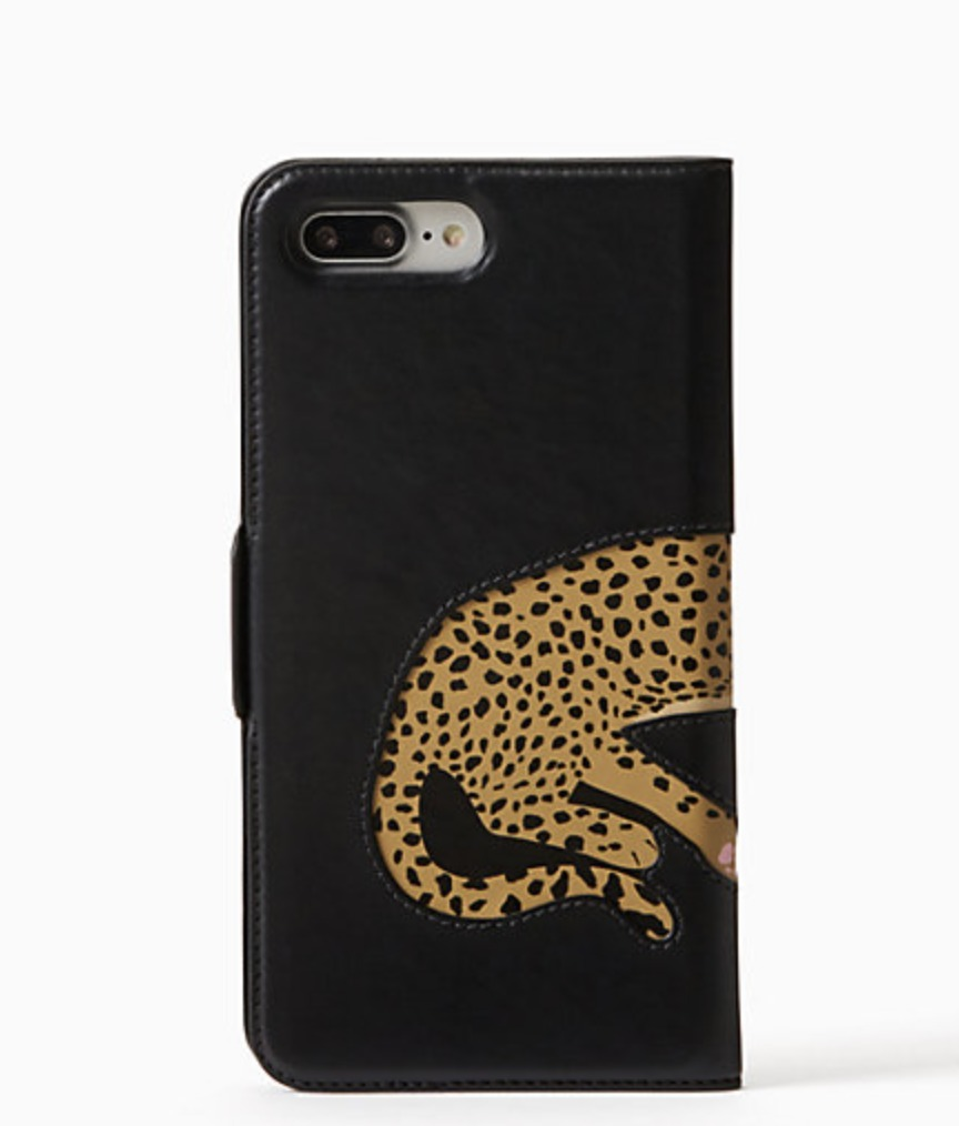 cheetah applique folio iphone 7/8 plus case
