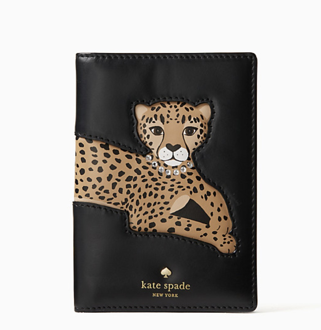 run wild leopard applique passport holder