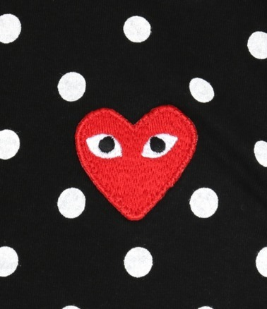 COMME des GARCONS☆レッドハート×ドットデザイン シャツ BLACK