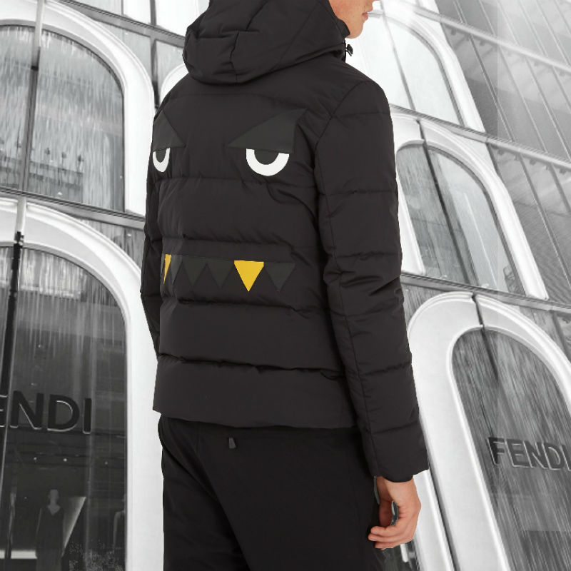 FENDI★Monster-applique quilted hooded jacket