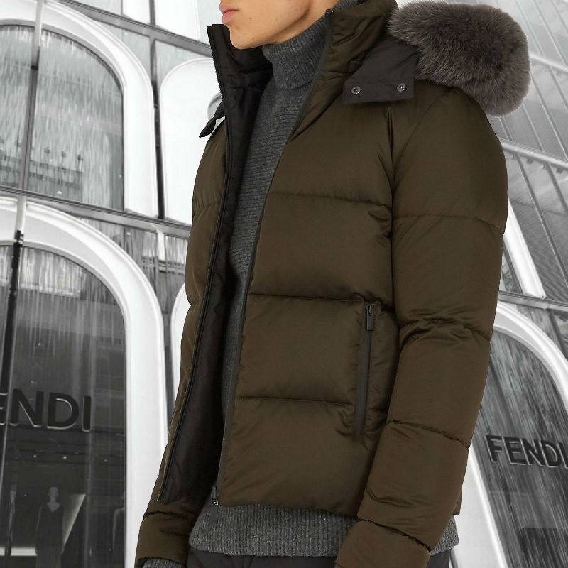 FENDI★Reversible fur-trimmed quilted-down coat ダウンコート