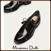 MassimoDutti♪BLACK LEATHER DERBY SHOES WITH STUDS