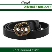 17AW関税込★GUCCI(グッチ) CRYSTALS DOUBLE G ベルト