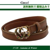 17AW関税込★GUCCI(グッチ) CRYSTALS DOUBLE G ベルト,brown