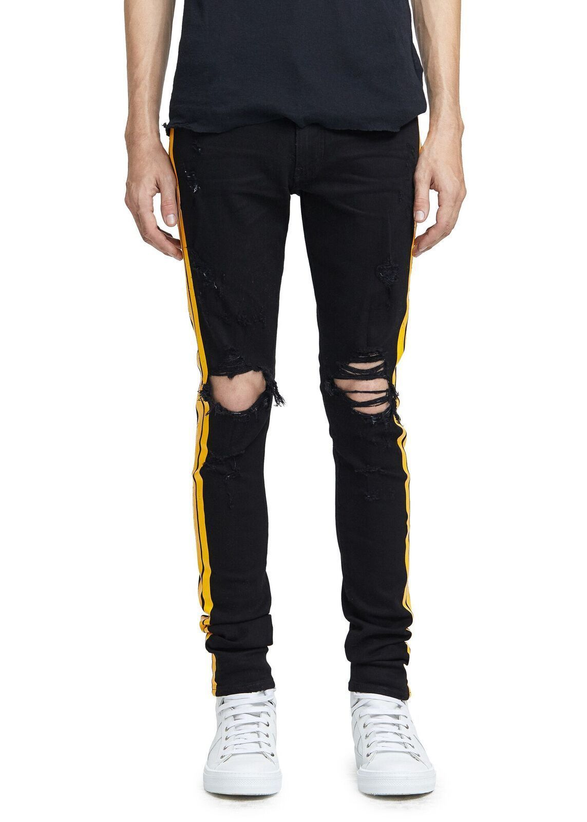 17AW新作★AMIRI★TRACK JEAN BLACK/YELLOW
