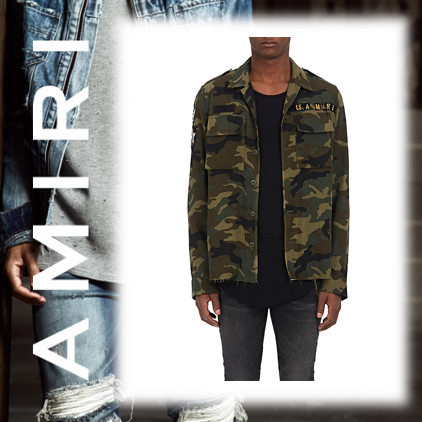 17AW新作★AMIRI★Camouflage Cotton-Cashmere Military Shirt