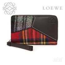 LOEWE★ロエベ Puzzle Zip Card Holder Black/Multicolor Tartan