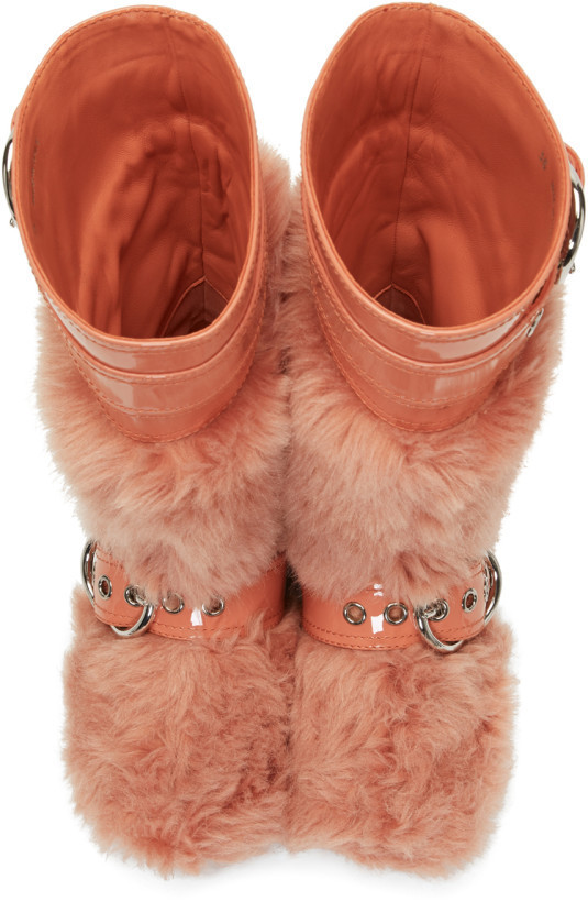 Faux-fur & patent leather boots パテントファーブーツ