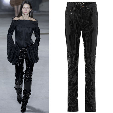 17-18AW WSL1154 LOOK53 MID RISE FAUX LEATHER SLIM LEG JEANS