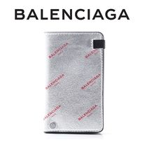 17AW☆Balenciaga☆Logo Leather フリップカードケース SILVER♪