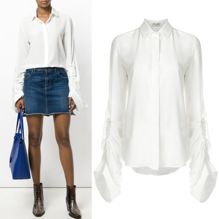 17-18AW WSL1167 SILK BLOUSE WITH OVERSIZED SLIDING SLEEVES
