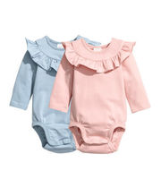 H&M 限定商品 2-pack Ruffle-trim Bodysuits