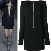 17-18AW WSL1169 LOOK99 CRYSTAL EMBELLISHED SABLE MINI DRESS