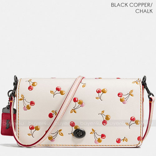 COACH★DINKY IN GLOVETANNED LEATHER WITH CHERRY PRINT 24140