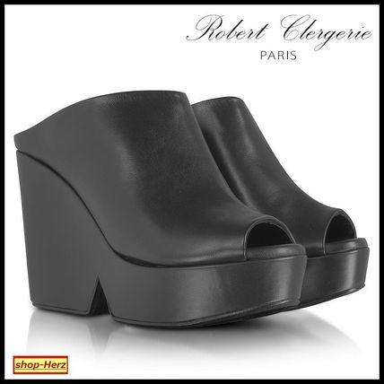 ★Robert Clergerie★ Dina Black Leather Wedgeミュール 関税込