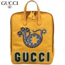 【GUCCI(グッチ)】 Yellow Canvas Backpack (37cm)