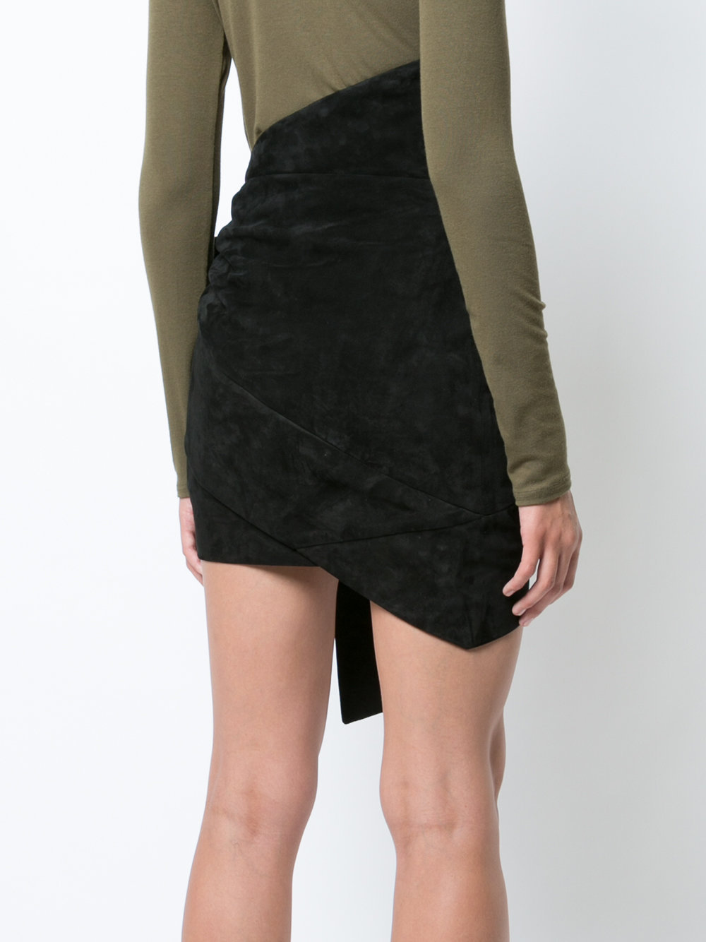17-18AW WSL1176 DRAPED LEATHER MINI SKIRT WITH RIBBON TIE