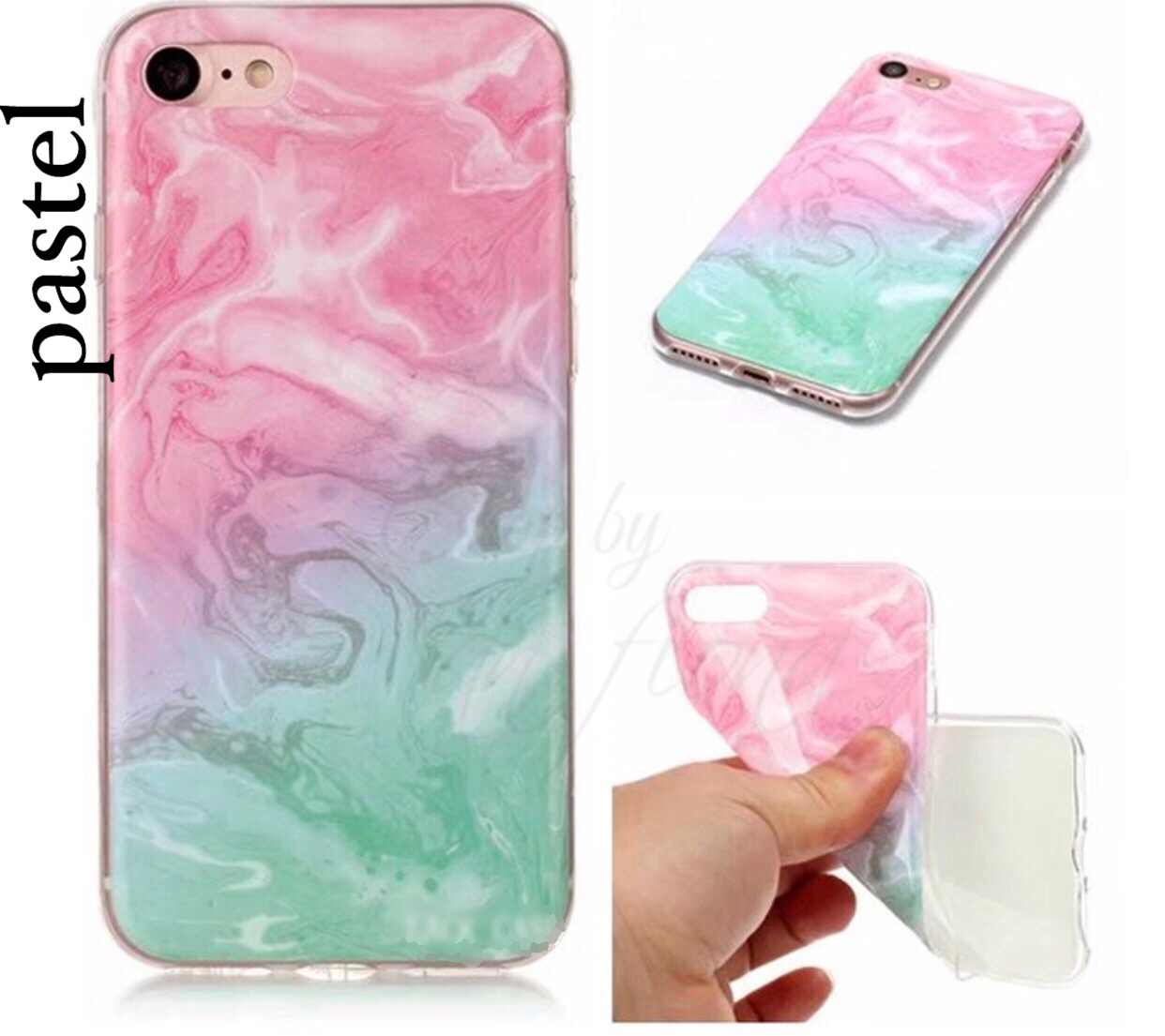 【iPhone8】2color大理石プリント&パステルマーブルiPhone case