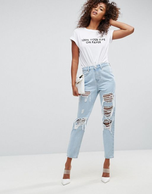 ASOS!ORIGINAL MOM Jeans in De Aged Wash with Rips a デニム