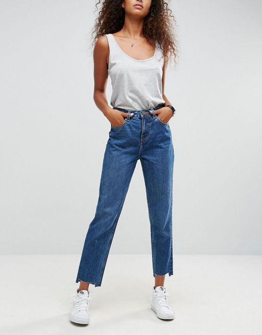 ASOS!ORIGINAL MOM Jeans in Haillie Wash With Stepped デニム