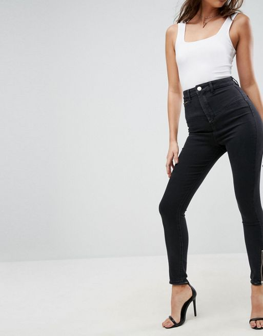 ASOS!RIDLEY High Waist Skinny Jean With Corset and Z デニム
