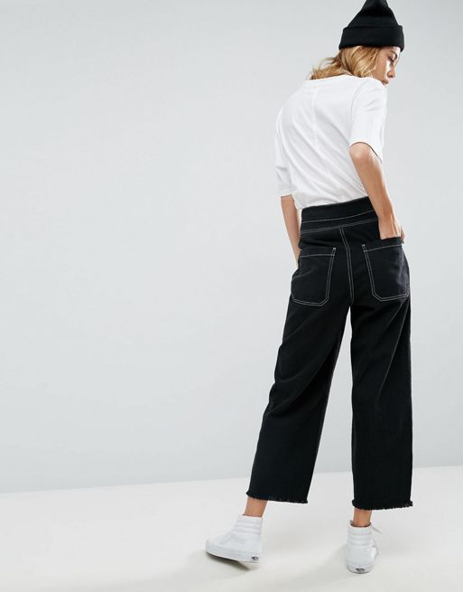 ASOS!Wide Leg Utility Jean With Big Pockets and Cont デニム