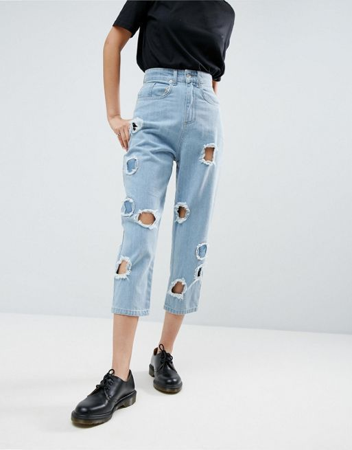 ASOS!WHITE Ovoid Circle Cut Out Jean In Midwash Blue デニム