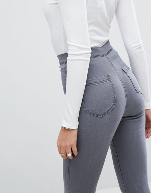 ASOS!RIVINGTON High Waisted Jegging in Sofie Grey デニム