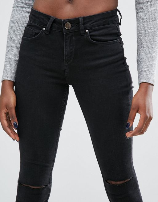 ASOS!LISBON Skinny Mid Rise Jeans in Washed Black wi デニム