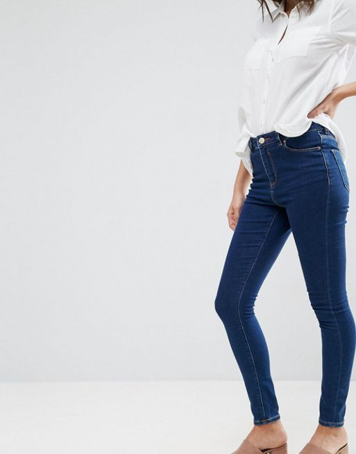 ASOS!Ridley High Waist Skinny Jeans in Deep Blue Was デニム