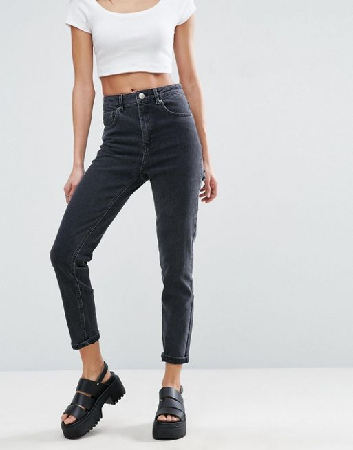 ASOS!FARLEIGH High Waist Slim Mom Jeans in Washed Bl デニム