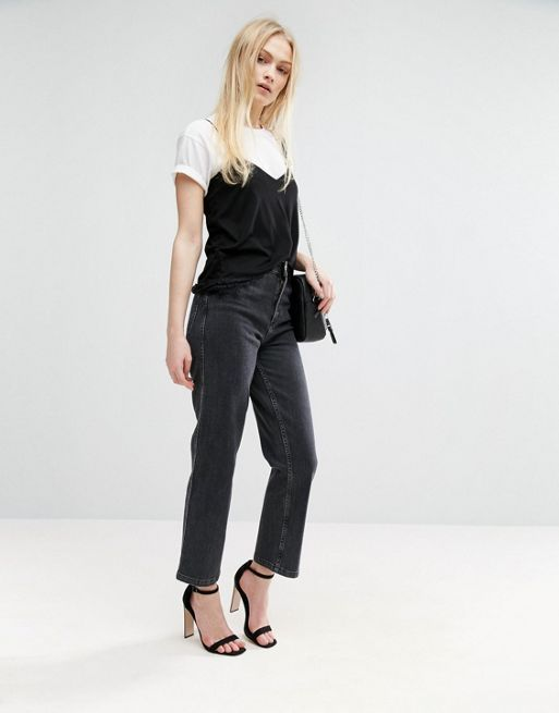 ASOS!High Waist Straight Leg Jeans In Washed Black デニム