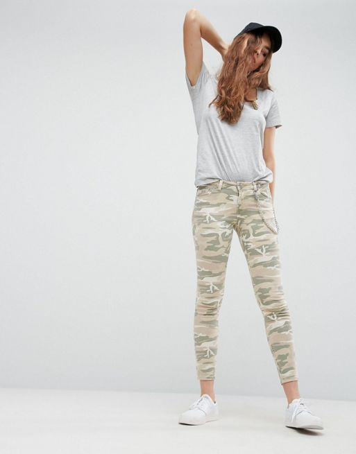 ASOS!WHITBY Low Rise Skinny Jeans In Camo Print with デニム