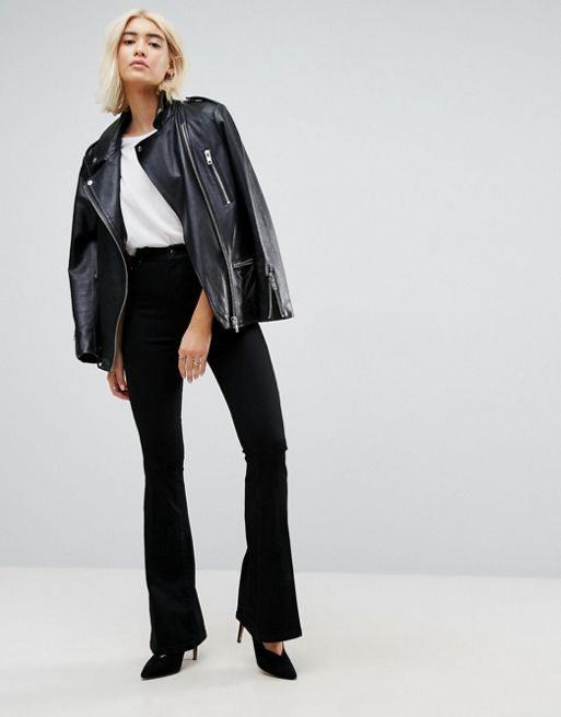 ASOS!Bell Flare Jeans In Clean Black With Pressed Cr デニム