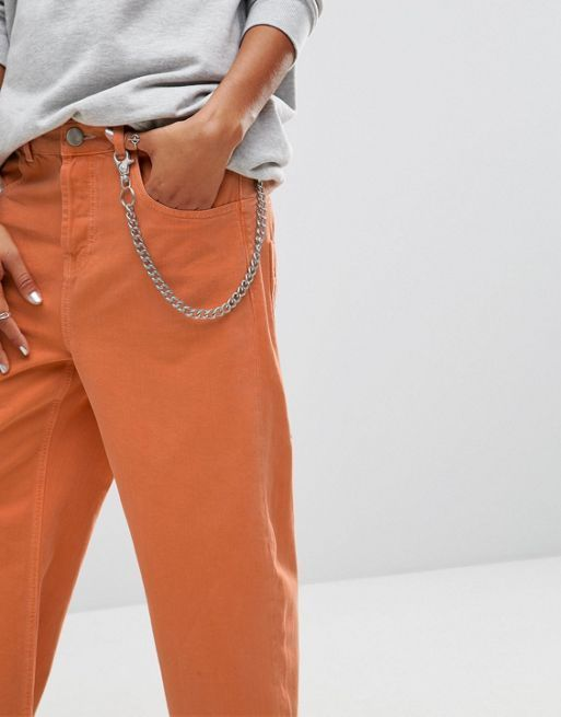 ASOS!Crop Skater Jeans in Washed Orange with Contras デニム