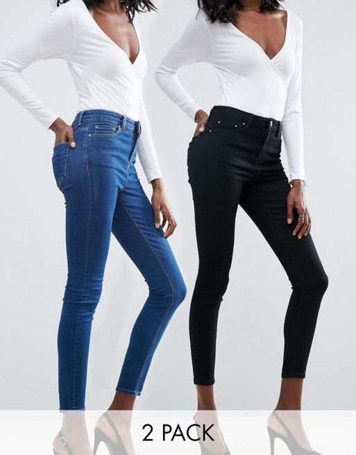 ASOS!RIDLEY SKINNY JEANS 2 PACK in Black and Kelsey  デニム
