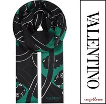 【国内発送】Valentino スカーフ Panther voile satin silk