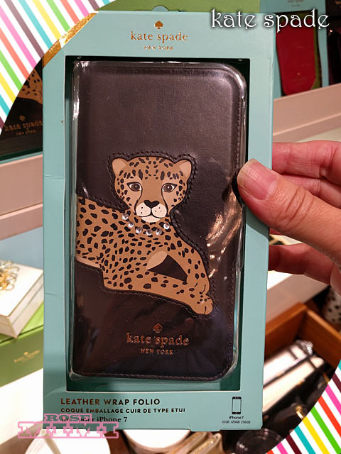 日本完売Kate spade☆cheetah applique folio iphone 7/8 case